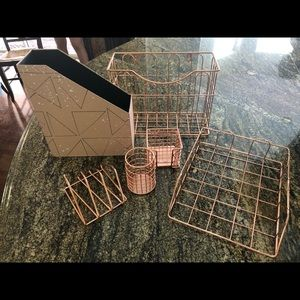 9 Pc Desk Organizer Set Rose Gold